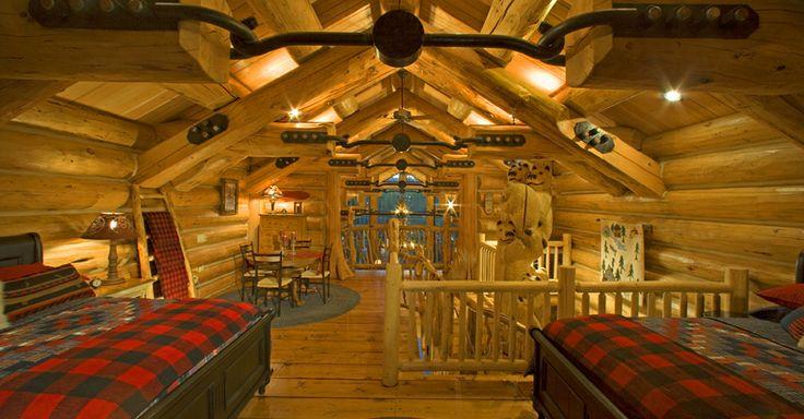 Luxury cabin bathrooms luxury log home photo gallery for Cabin loft bedroom ideas