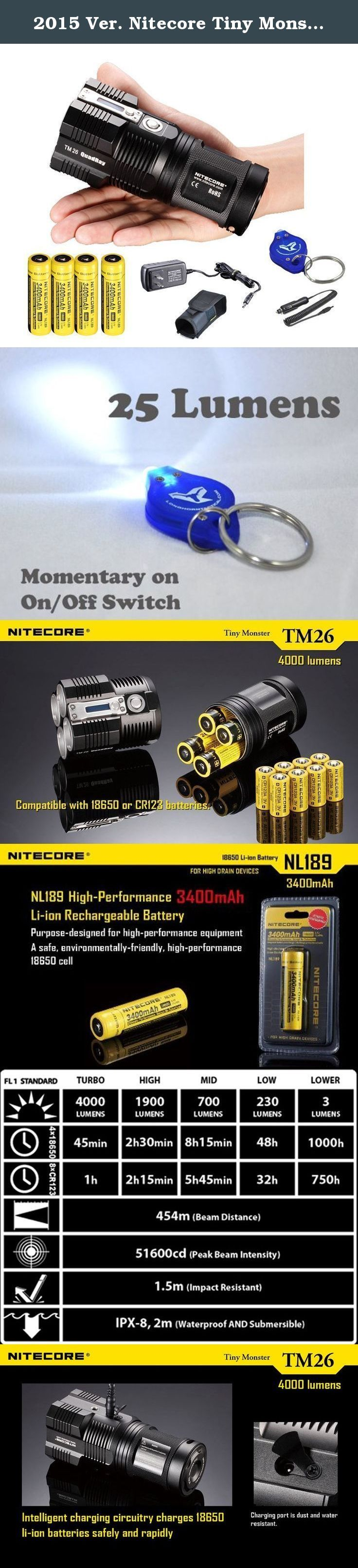 2015 Ver. Nitecore Tiny Monster TM26 4000 Lumen Search Light Ultimate Bundle: 4x Nitecore NL189 3400 mAH 18650 Batteries, Wall and Car Charger, a LumenTac(TM) Keychain Light. The ultimate bundle for the latest Nitecore Tiny Monster TM26 with the latest 4x Nitecore NL189 high capacity high performance rechargeable 18650 batteries, a A/C charger, a car adapter and a light locator. With this bundle, TM26 will be at its optimal performance all the time. Whats more, this is the newest 4000…