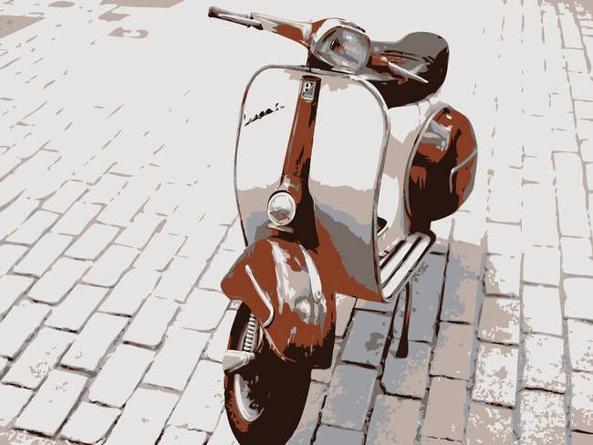 """Vespa Scooter in Brown"" by Michael Tompsett, Castellon // Retro Vespa Scooter, vector pop art style // Imagekind.com -- Buy stunning, museum-quality fine art prints, framed prints, and canvas prints directly from independent working artists and photographers."