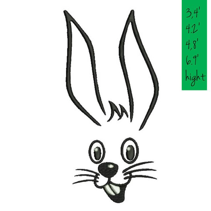 Rabbit face Embroidery Machine Designs Bunny animal pattern digital instant kids baby kindergarten nursery design t-shirt in the hoop file by SvgEmbroideryDesign on Etsy