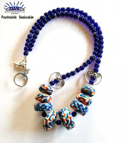 Necklace Polymer Clay Chunky Round Beads Blue Teal White Orange | bluemorningexpressions - Jewelry on ArtFire