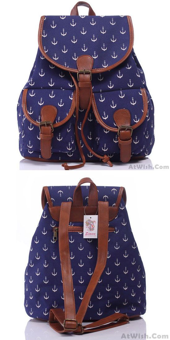 Leisure Navy Blue Anchor Rucksack Girl College Canvas Schoolbag Backpack for big sale ! #anchor #backpack #school #bag #college #blue