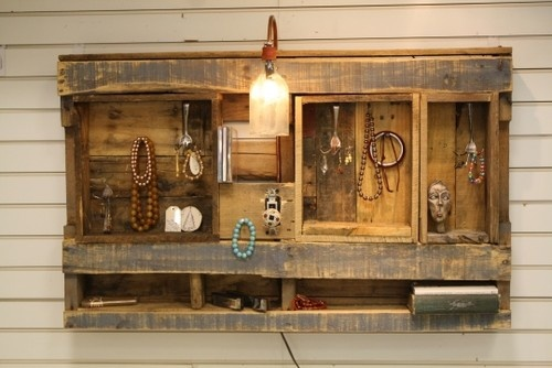 Lighted Jewelry Display/Organizer. Wall-hanging unit made from recycled barn wood and pallet wood. $98-