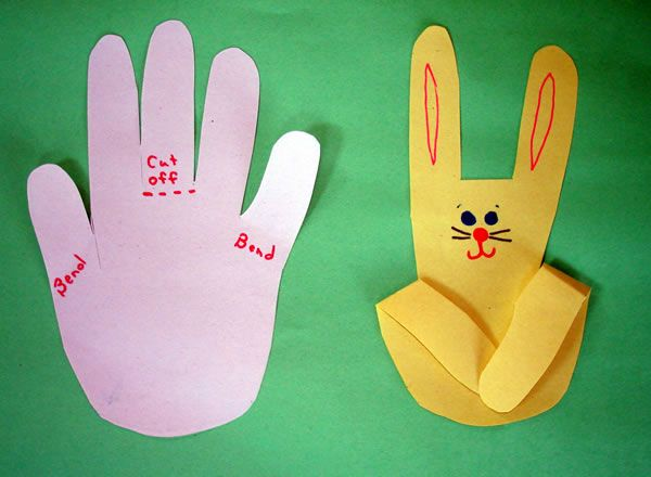 "Easter activities: Bunny crafts. LOVE this simple cut out bunny hand print craft! Children could add ""Hoppy Easter"" or ""Somebunny loves you!"" under the folded fingers."