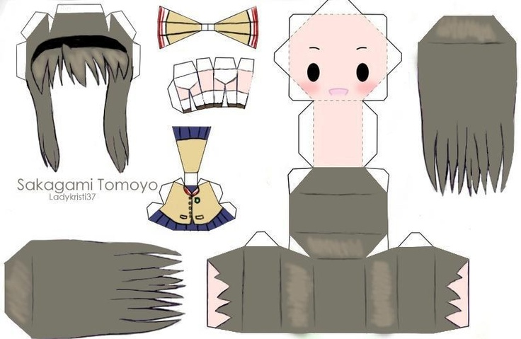 clannad make your own 3d chibi paper doll sakagami tomoyo oh how i loved paperdolls pinterest clannad dolls and craft