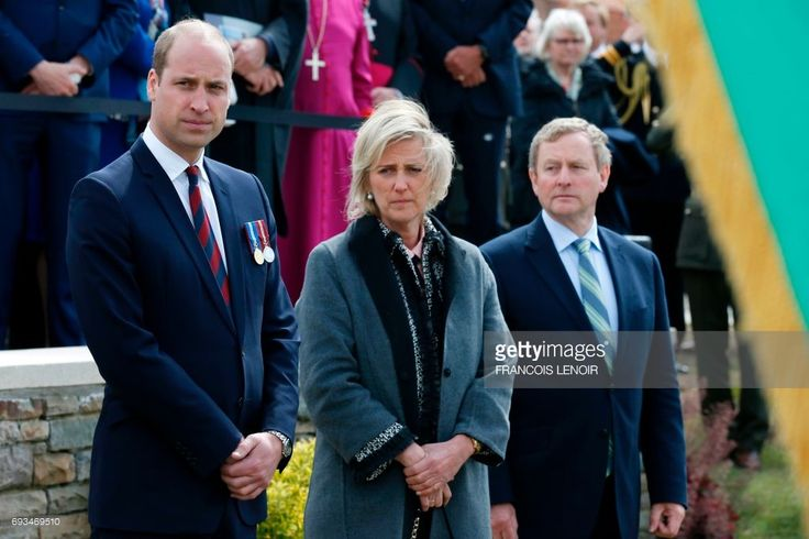 Britain's Prince William, Duke of Cambridge, Princess Astrid of Belgium and Irish Prime Minister Enda Kenny attend a wreath-laying ceremony during the Battle of Messines Ridge commemorations at the military cemetery in Wijtschate, Belgium, on June 7, 2017. The Battle of Messines took place June 7-14, 1917 and was an offensive conducted by the British Second Army, during the First World War. LENOIR