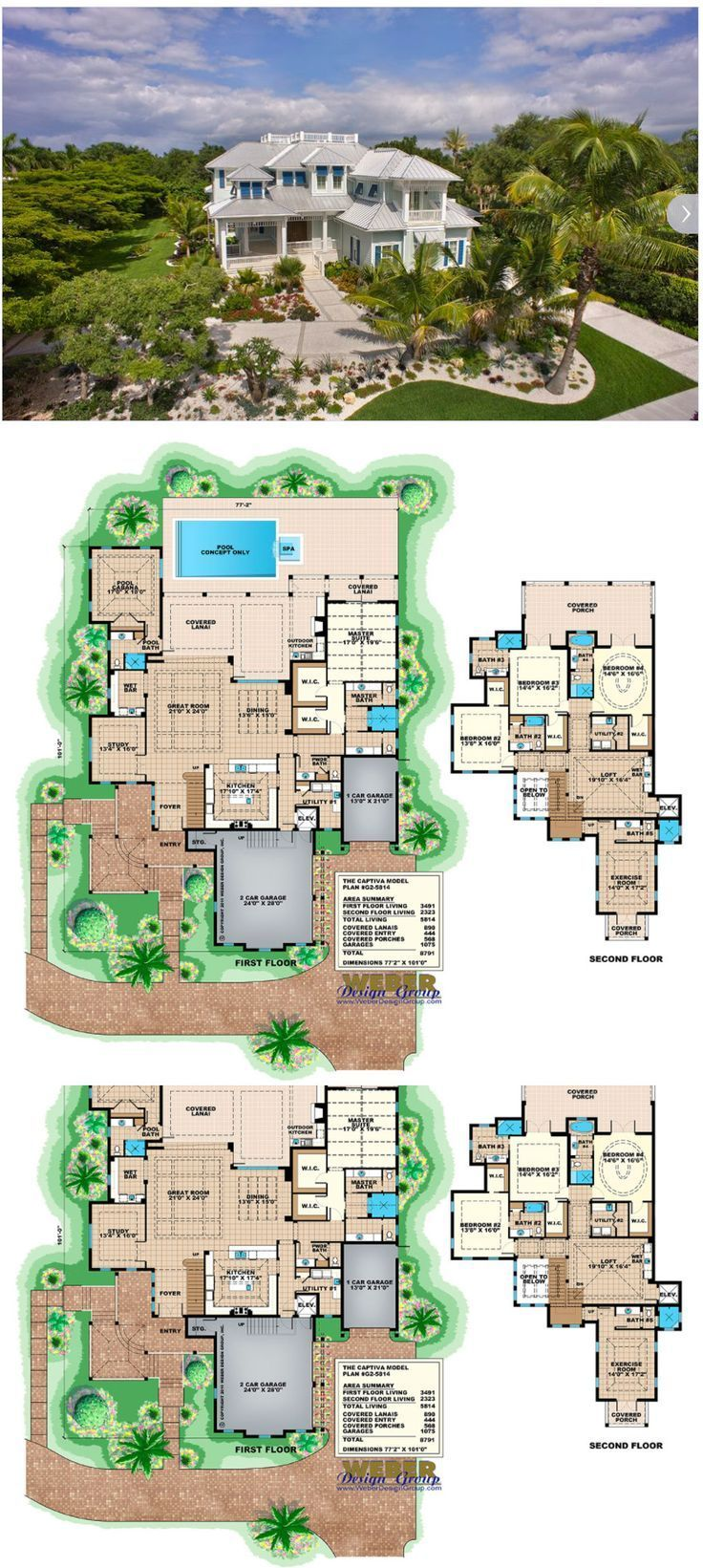 Beach House Plan 2 Story Coastal Home Floor Plan With Cabana House Plans Mansion Waterfront Homes Beach House Plan