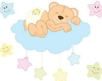 PELUCHE oso vivero Decal Mural pared arte Luna estrella boscosa bosque amigos animales niños habitación niño niña niños dormitorio bebé nube pegatinas