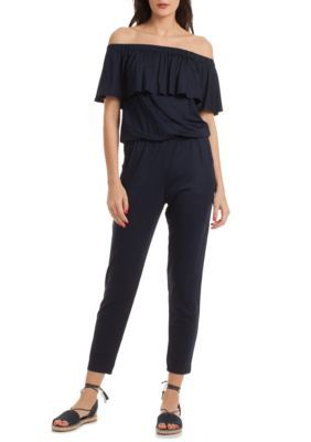 Trina Turk Women's Hollyhock Off The Shoulder Jumpsuit - Indigo - Xl