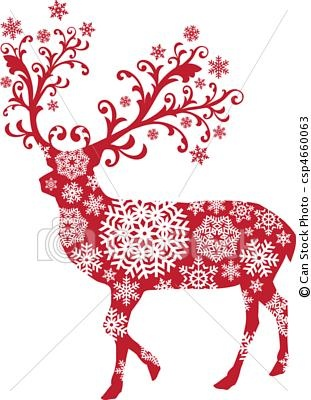 buy christmas deer by amourfou on graphicriver christmas deer with ornaments and snowflakes vector illustration ai eps 8 compatible to freehand or - Christmas Reindeer Pictures