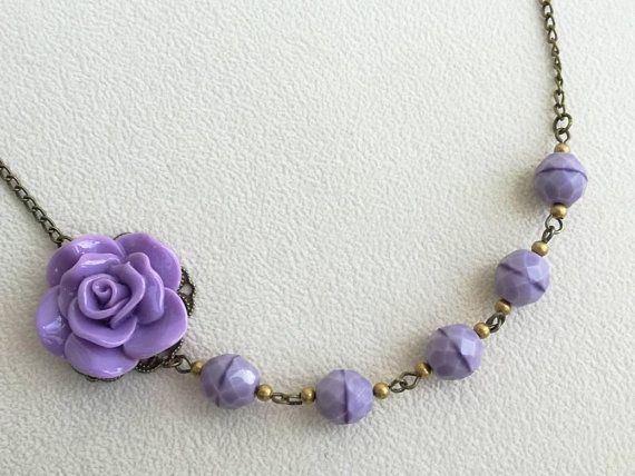 Lilac Rose Necklace Lilac Flower Necklace Lavender Necklace Etsy Lavender Necklace Purple Necklace Rose Necklace