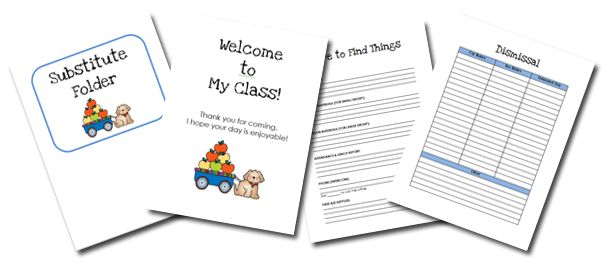 The ultimate Substitute Teacher folder, all you do is download, fill out your plans and print it!