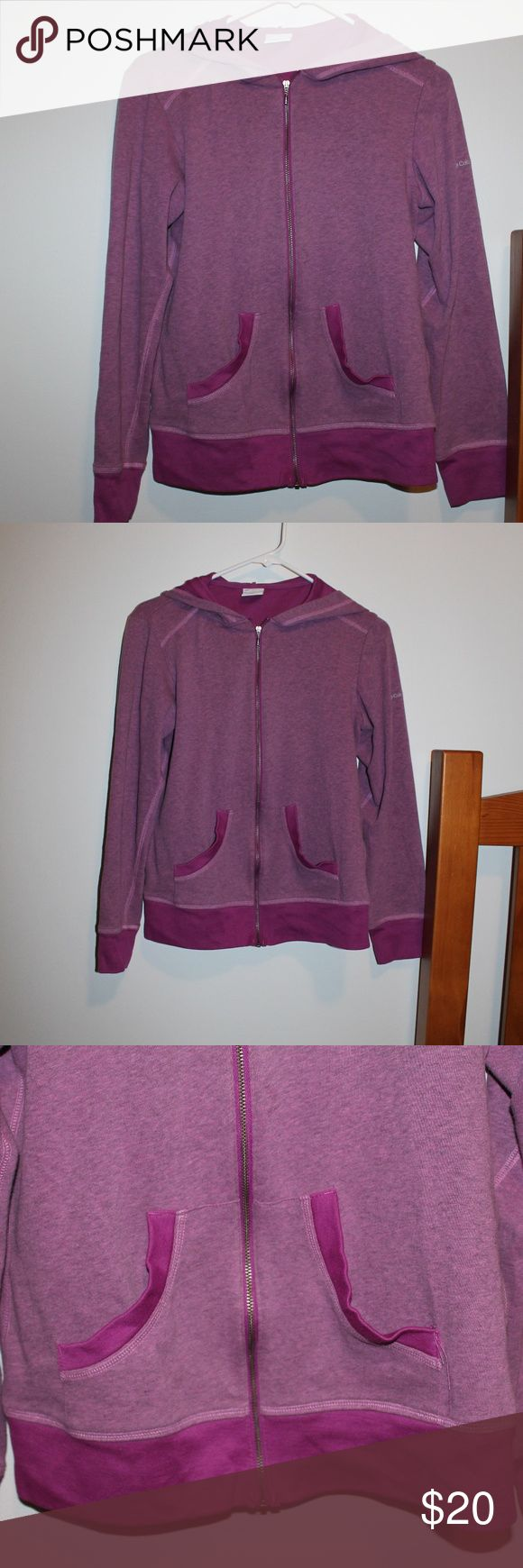 Columbia Purple Zip Up Hoodie Size Medium -Perfect condition -Purple -Perfect for spring and fall weather -Very comfortable -Two front pockets -Zip up front Columbia Sweaters