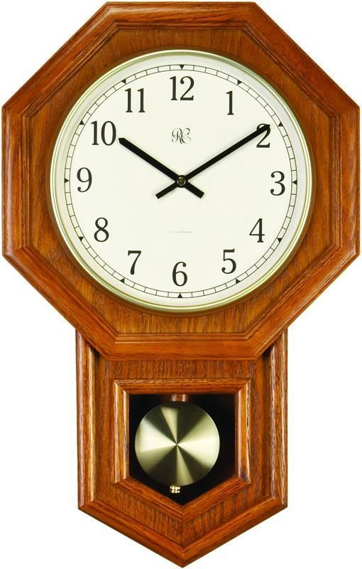 radio controlled schoolhouse clock with swinging pendulum and oak finish 21 inches tall - Feldstein Kaminsimse