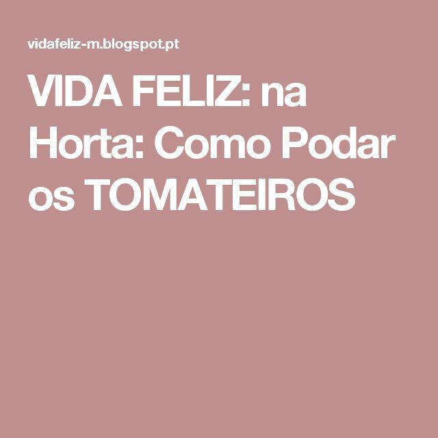 VIDA FELIZ: na Horta: Como Podar os TOMATEIROS