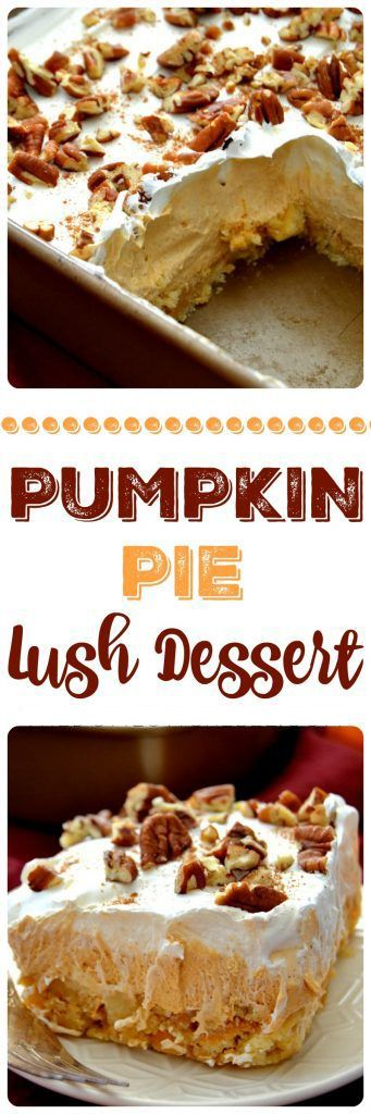 Pumpkin Pie Lush Dessert is marvelous! Layers of pecan shortbread cookies, fluffy pumpkin spice pudding, creamy whipped topping and chopped pecans make for a delectable, easy, no-bake dessert!