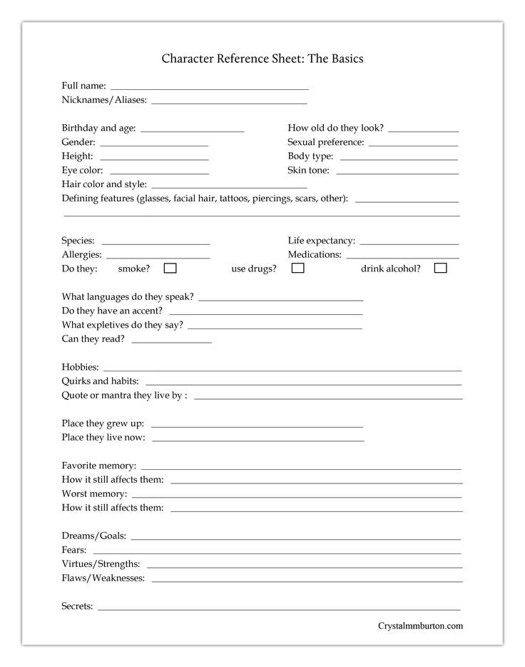 Character Sheets To Help You Round Out Your Characters And Give You An Easy  Reference To Look Ba… Character Sheet Writing, Writing Tips, Character  Reference Sheet