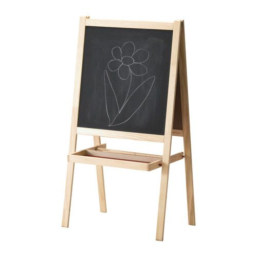 This has a permanent place in our kitchen. Chalk board one side. White board on the other side. You can buy dry erase crayons from crayola. they work well on it.  It can fold flat. It has a dowel that holds a roll of paper. Has a shelf for supplies too. For $14.99 it's dirt cheap compared to other easels. Store only.