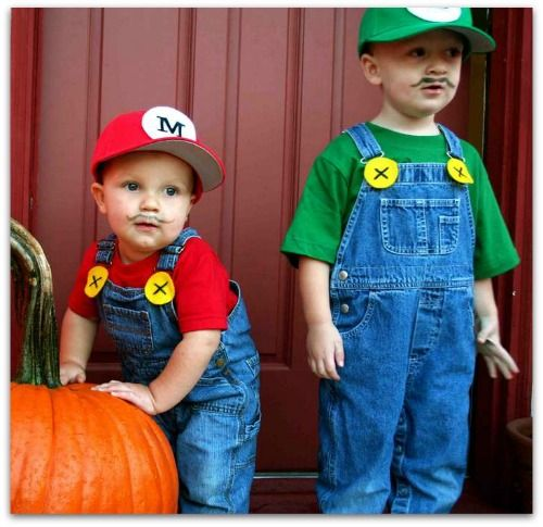 Adorable Homemade Mario Bros. Halloween Costumes! Made with clothing that the kids can wear again, instead of just for Halloween night!