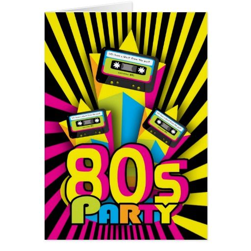1980s Party Invitation Card With 80 color with cas
