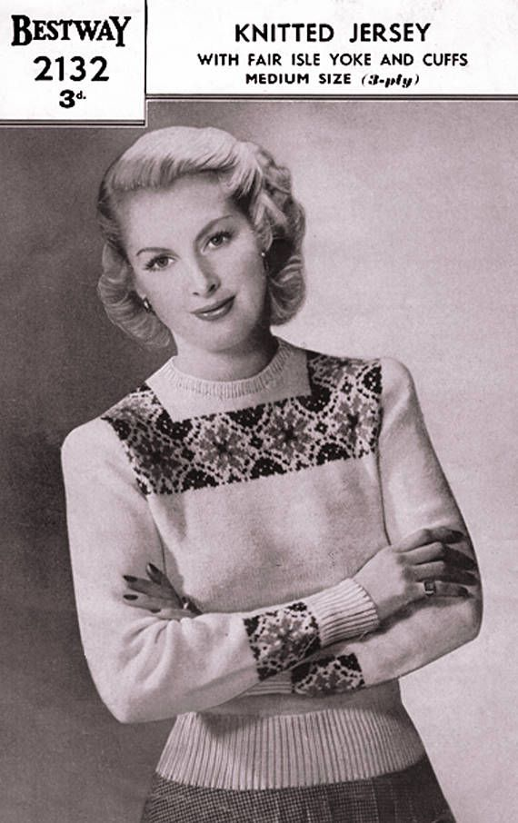 PDF Vintage 1940s Womens Ladies Knitting Pattern Bestway 2132