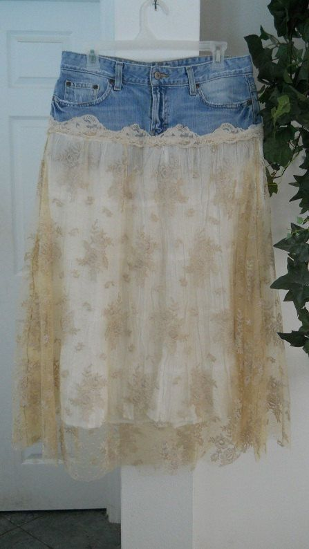 """lace and denim skirt This one I KNOW I could make. I've got a denim skirt in my closet that I just can't part with yet. It really is too short for me """"at my age"""". Hmm....."""