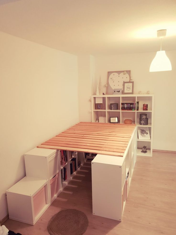 A loft bed from Ikea Kallax shelves