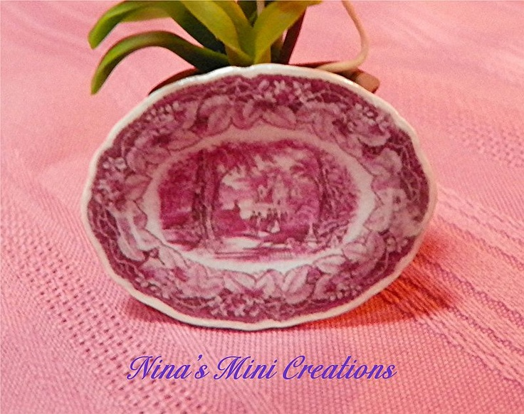 Deep Pink Victorian Platter with a darling vintage scene! Visit my webpage at www.ninasminicreations.com for listings
