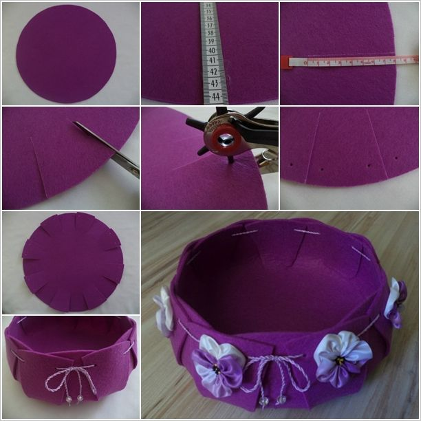 Felt Basket. Make large felt circle - 18 inches in diameter. Mark 16 lines about 8cm long evenly around. Cut on lines. Punch 2 holes in each section. Bring sides together & thread string or ribbon around thru holes.