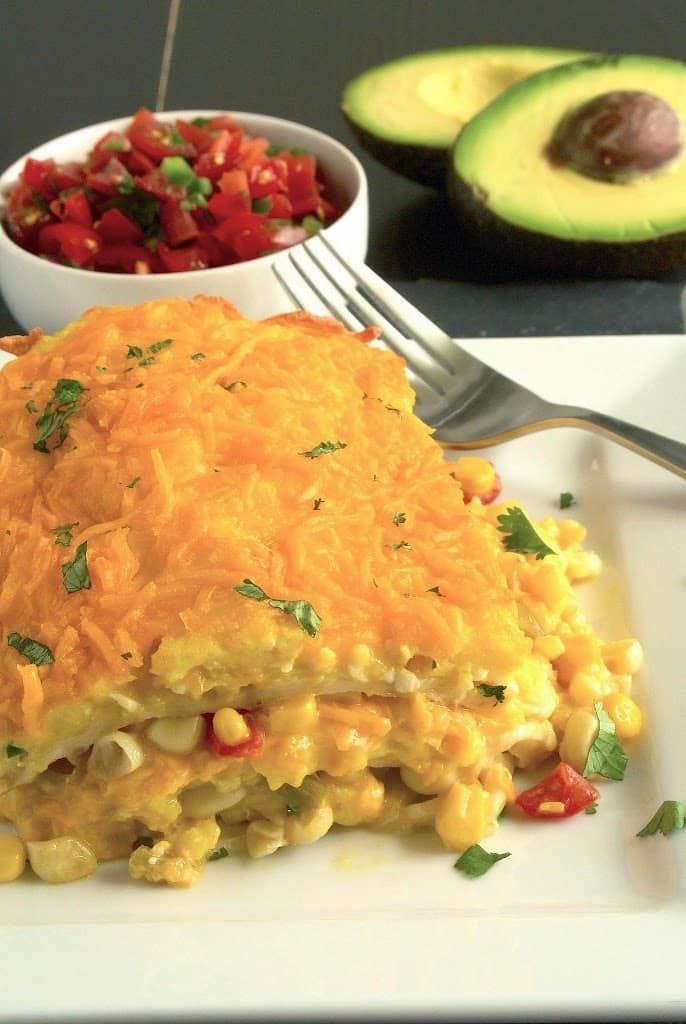 Layers of corn, cheese and tortillas. Mexican breakfast lasagna is a great to-go meal. Keep in the fridge and heat up every morning for a quick breakfast