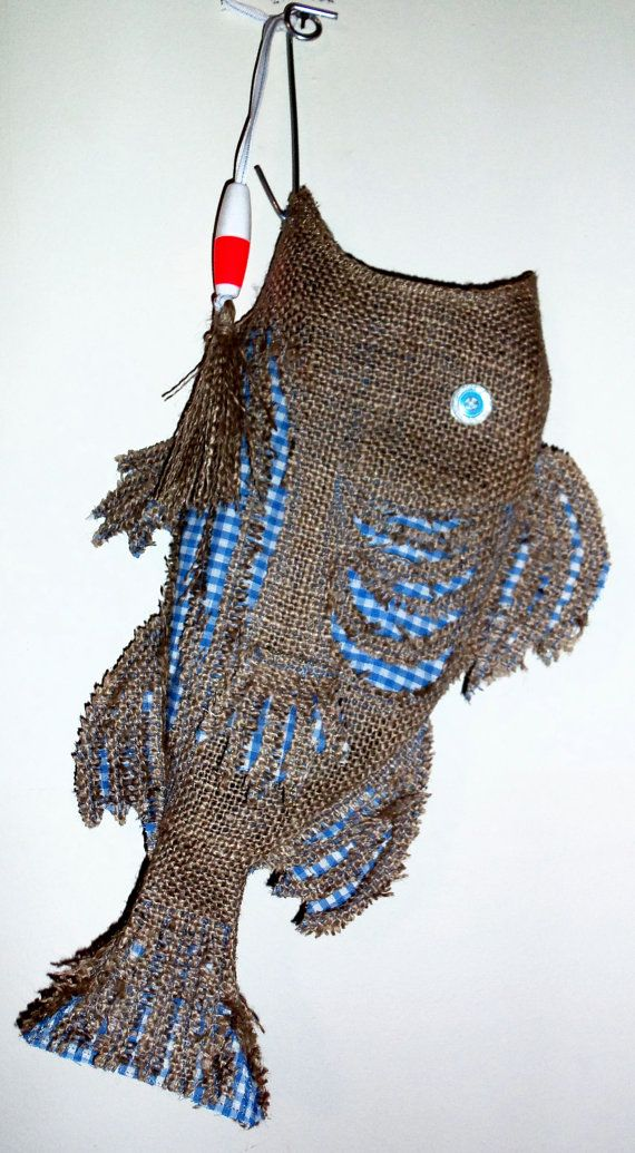 Burlap christmas stocking fish blue check by for Fish christmas stocking