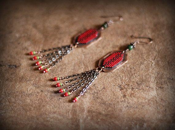 Ethnic Boho Earrings, Colorful Festive Boho Chandeliers, Native American Inspired Earrings, Copper Dangles, Long Earrings, Beadwork Earrings