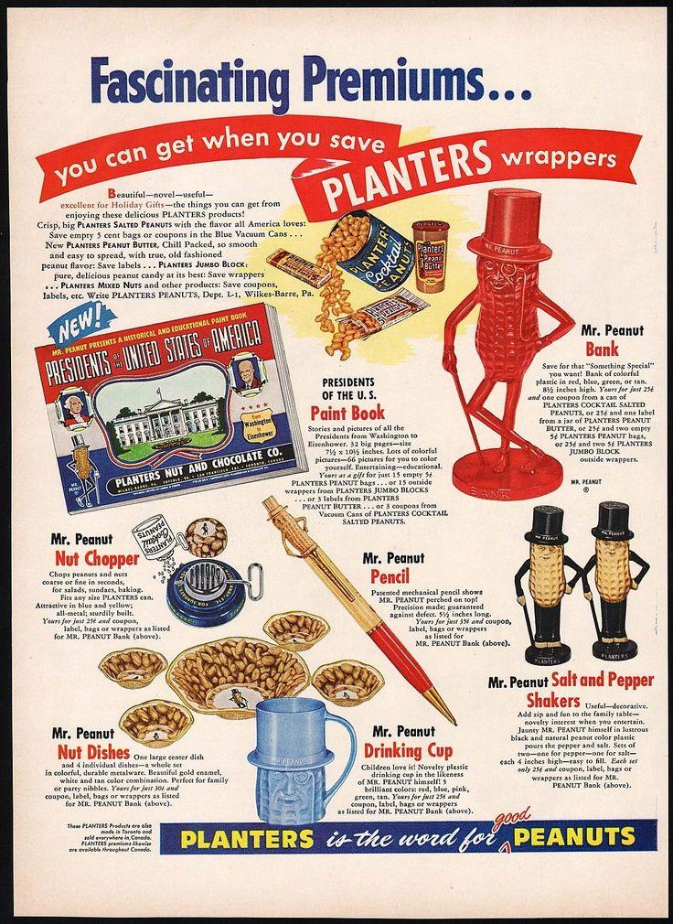 Planters Peanuts Premiums Ad, 1955