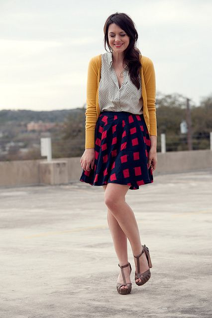 blouse, cardigan, printed skirt, and platforms #teaching_outfit #teacher #work_attire