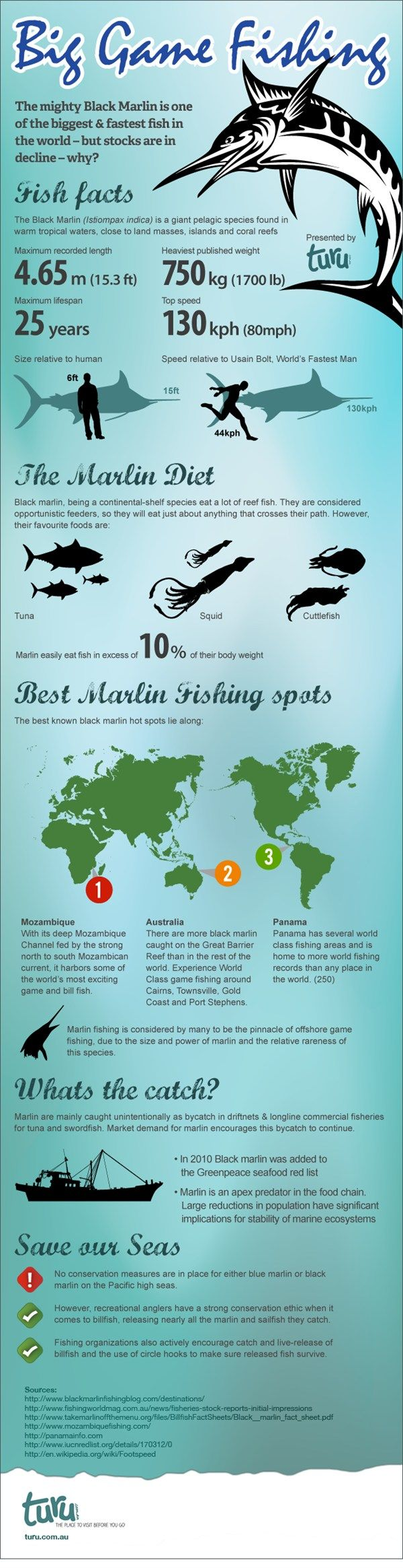 """The Ultimate Catch, Black Marlin -   The infographic """"Big Game Fishing"""" by Turu Caravan Parks offers an insight to big game fishing of the black marlin. It highlights some interest facts on the fish, the best spots in the world for black marlin fishing and provides information on ... Read more."""