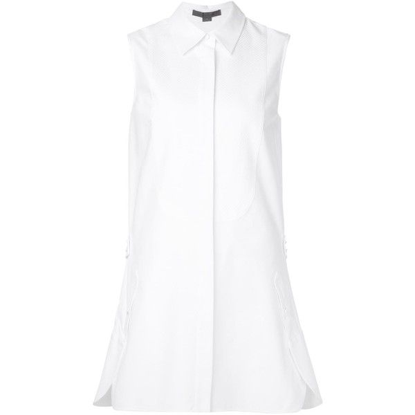 Alexander Wang flared shirt dress (205 BHD) ❤ liked on Polyvore featuring dresses, white, white flare dress, sleeveless dress, long shirt dress, white flared dress and white cotton dress