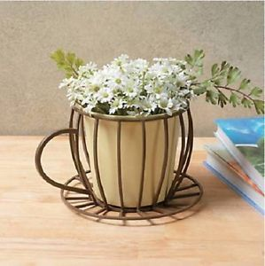 """Flower Plant Planter Coffee Cup on Saucer Cut Out Wire Design 8""""w Metal New 