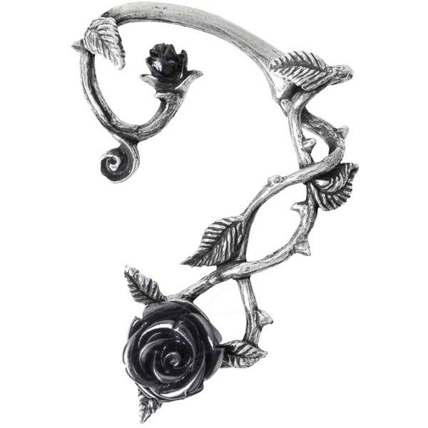 Black Rose Earwrap Earring by Alchemy Gothic ($84) ❤ liked on Polyvore featuring jewelry, earrings, goth jewelry, rose jewelry, gothic jewellery, earring jewelry and rose jewellery