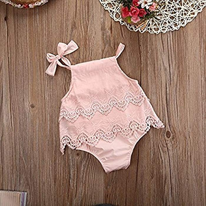 US Summer Newborn Baby Girl Floral Lace Romper Jumpsuit Princess Outfits Clothes
