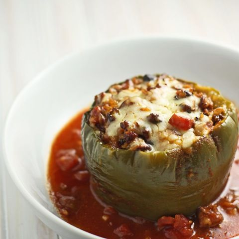 Slow cooker stuffed peppers (we used ground sausage instead of beef)