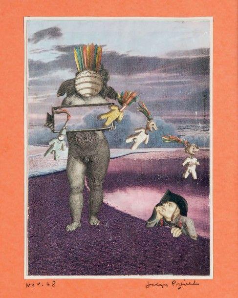 PRÉVERT Jacques COLLAGE ORIGINAL SIGNÉ. Novembre 1968. Dimensions du collage 28 x 20 cm, dimensions de la feuille 37 x 28, sous encadrement. Collage original contrecollé sur papier de couleur, daté et… - Binoche et Giquello - 28/10/2015