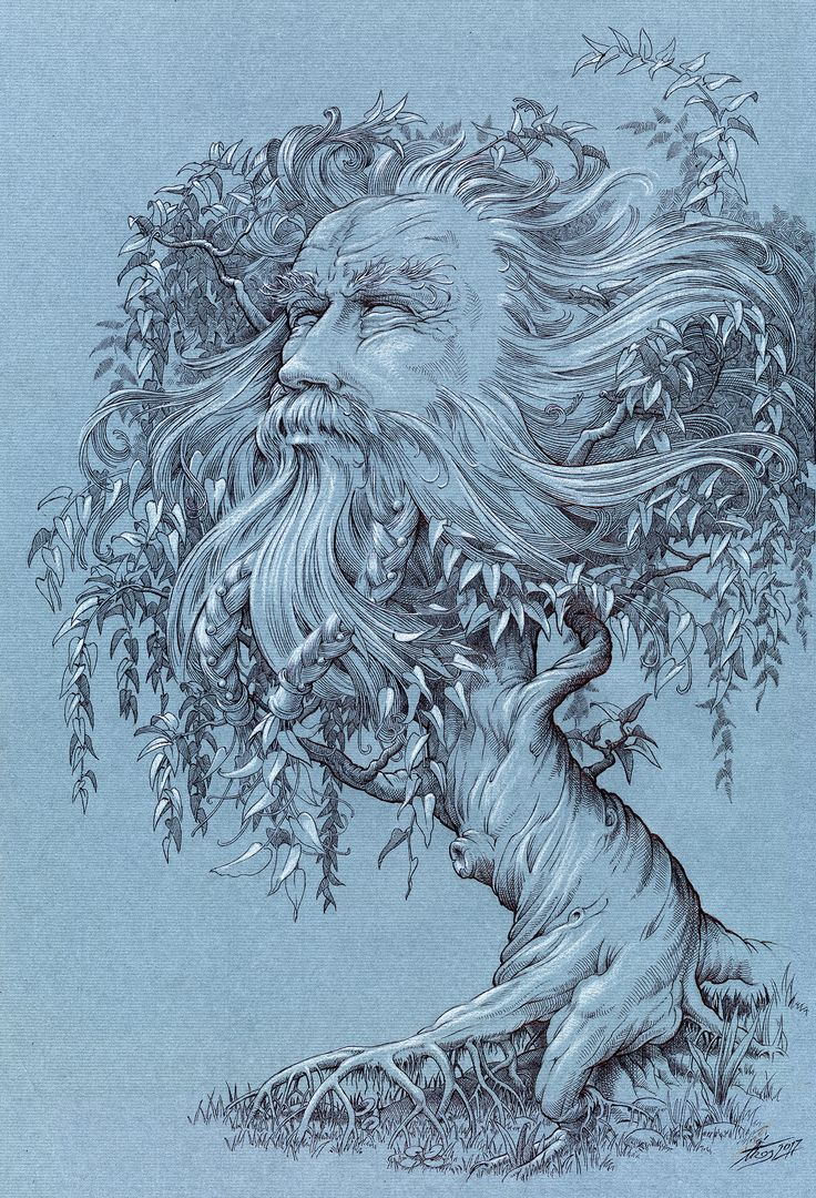 tree-god / pen&ink / graphic art