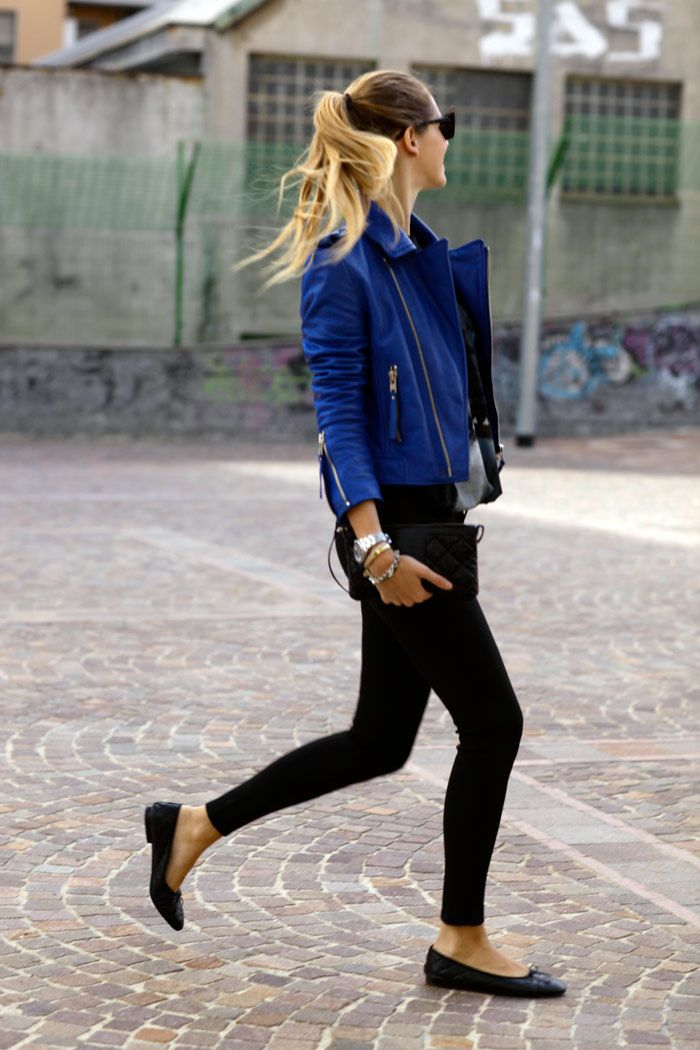 Simple outfit - black skinnies, flats, and a blue moto jacket