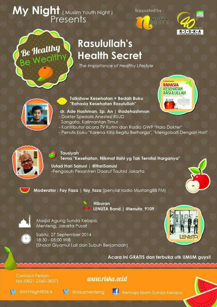 Healthy Lifestyle, penting kah?!  Sering ga sih ngerasa gaya hidup kita sekarang ga sehat? Selain banyak makan junk food, kita jg jarang olahraga..  Ada yg bilang, gaya hidup sehat agak sulit untuk dipraktekkan di zaman sekarang..  Padahal, Rasulullah SAW saja, dikenal sebagai pribadi yg bukan hanya saleh dan bersahaja, tetapi juga pintar dalam menjaga kesehatan dan kebersihan diri  Mau dapet tips-tips menuju gaya hidup sehat yg juga bersumber dari Rasulullah SAW?  Kesini aja!   terlampir..
