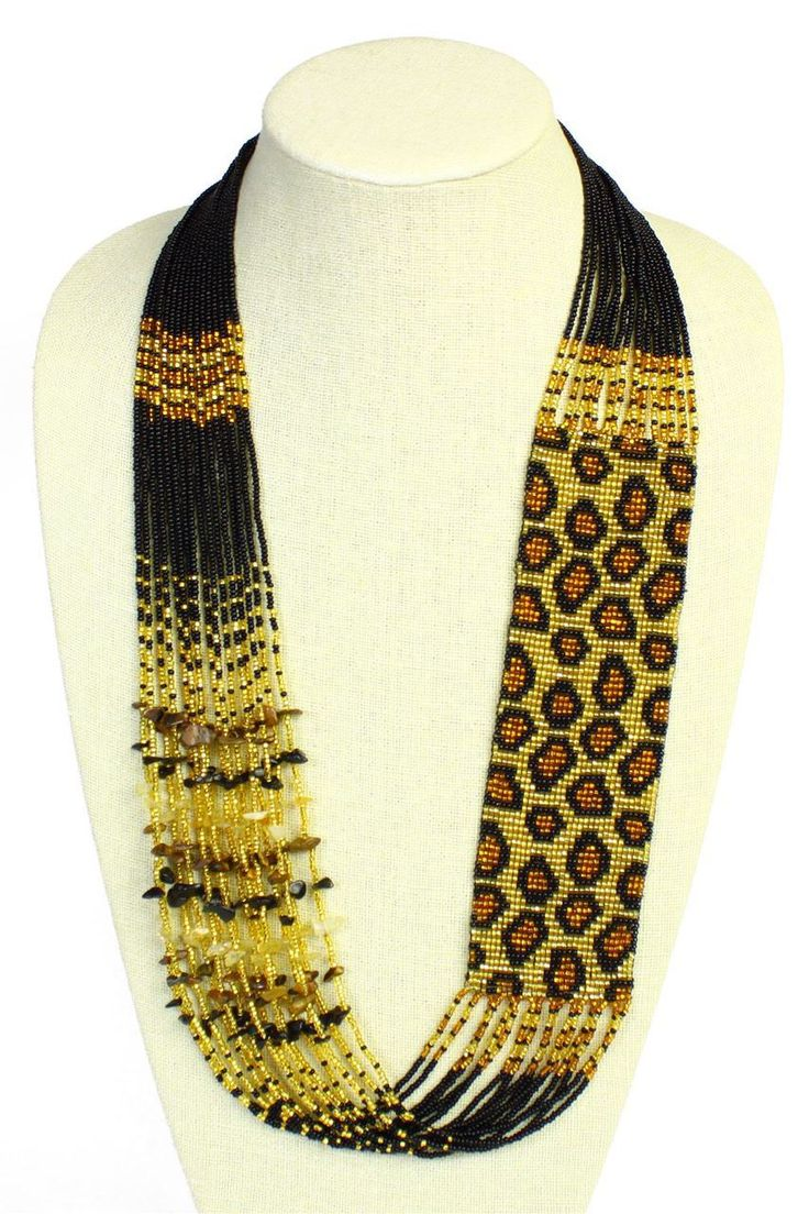 Leopard Czech Glass Seed Beads Gold and Amber Necklace with Magnetic Clasp - Sanyork Fair Trade
