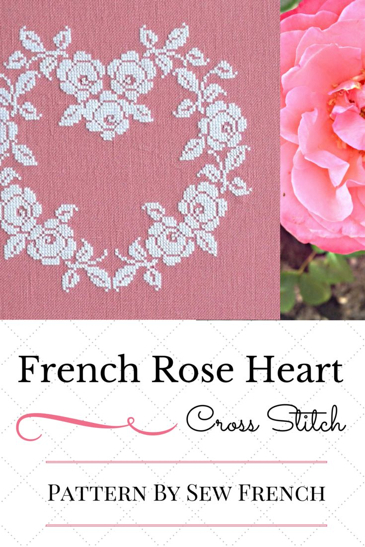 Instant PDF Cross Stitch Pattern. French Heart Of White Roses On Raspberry Pink Linen! Pretty! Classic! Handmade!
