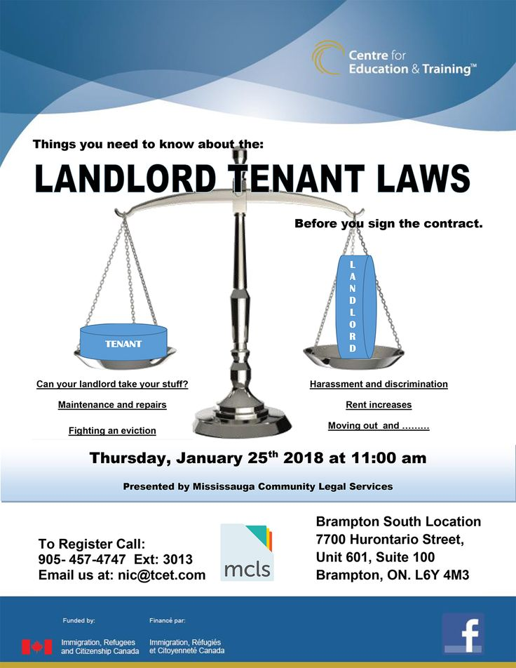 As a newcomer Tenant or Landlord, it is very important to know your rights in Ontario according to Landlord Tenant laws. Tomorrow Thu Jan 25, 11am at #TCET_BramptonEast - don't miss our FREE Landlord Tenant Laws information session. RSVP 905-457-4747 ext. 3013 #newcomers #ontario