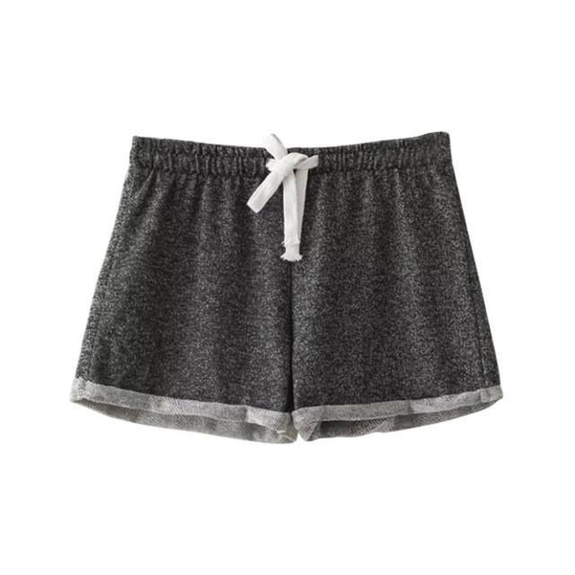Summer European Style Women Shorts Elastic Waist Tunic Drawstring Beach Pocket Cuffs Casual Fitness workout Female Shorts