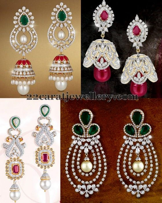 Jewellery Designs: Regal Look Trendy Diamond Jhumkas