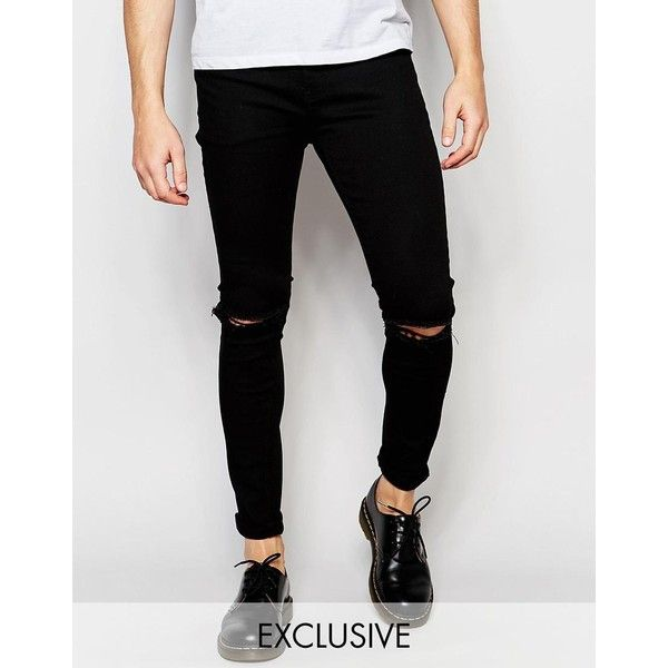 Liquor & Poker Skinny Rip Knee Jeans in Clean Black (16.890 HUF) ❤ liked on Polyvore featuring men's fashion, men's clothing, men's jeans, mens distressed jeans, mens destroyed jeans, mens skinny jeans, mens ripped skinny jeans and mens ripped jeans